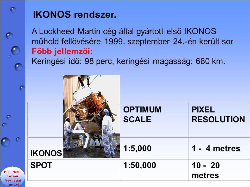 A Lockheed Martin cég által gyártott első IKONOS műhold fellövésére 1999. szeptember 24.-én került sor Főbb jellemzői: Keringési idő: 98 perc, keringé