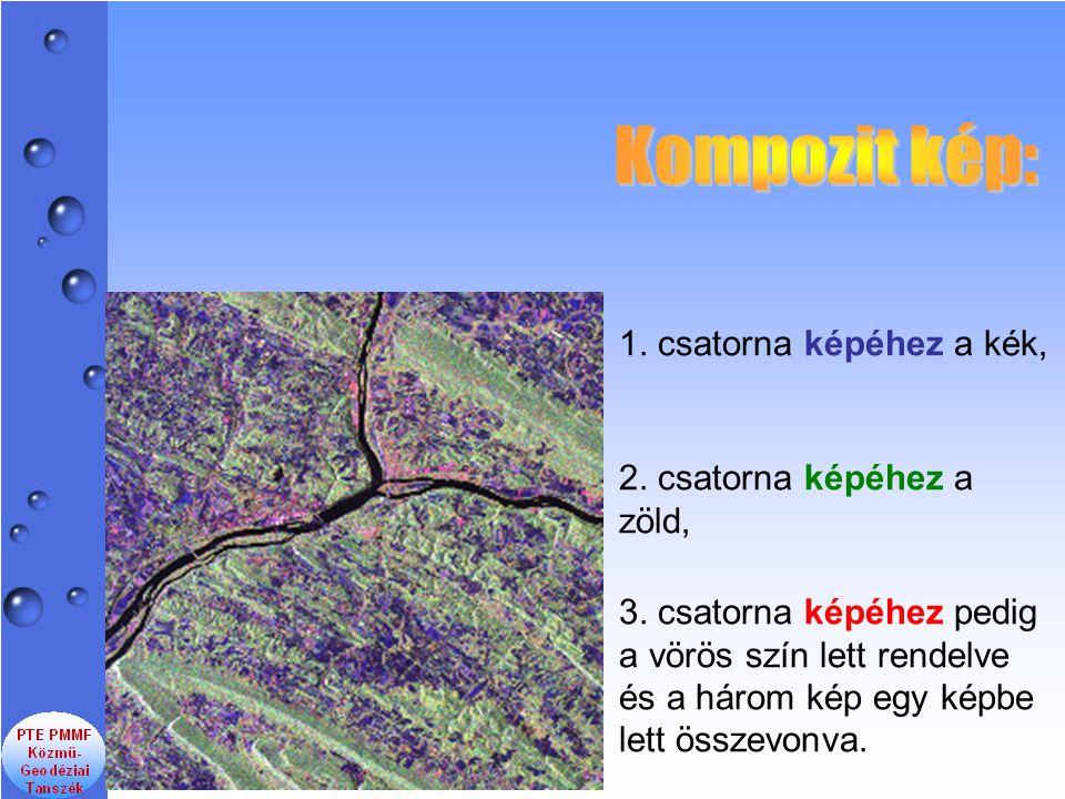 1. csatorna képéhez a kék, 3. csatorna képéhez pedig a vörös szín lett rendelve és a három kép egy képbe lett összevonva. 2. csatorna képéhez a zöld,