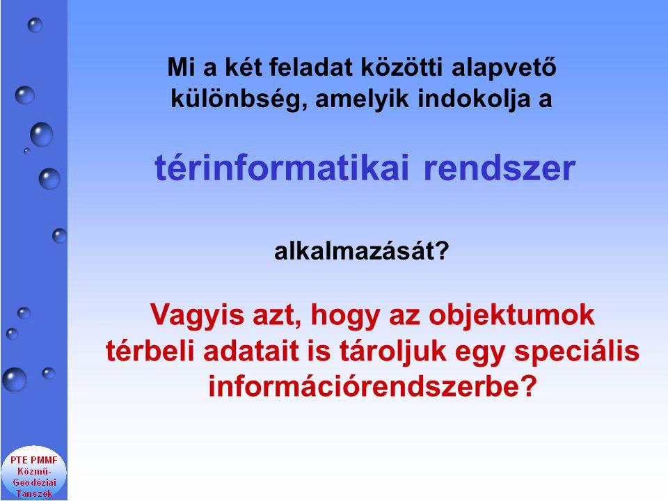 Mi a két feladat közötti alapvető különbség, amelyik indokolja a térinformatikai rendszer alkalmazását.