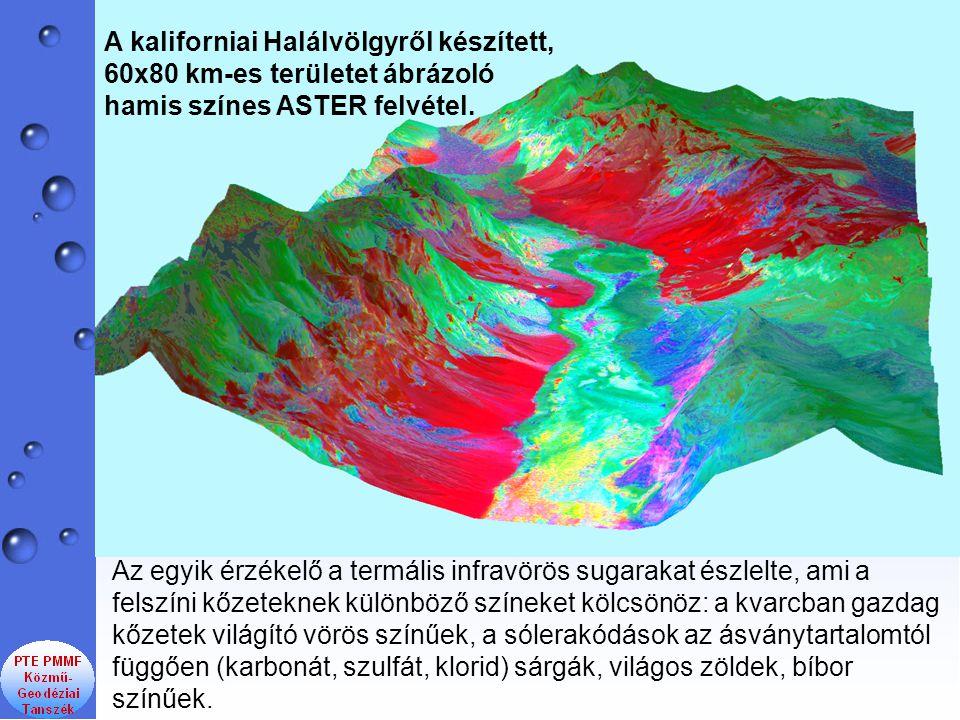 Az egyik érzékelő a termális infravörös sugarakat észlelte, ami a felszíni kőzeteknek különböző színeket kölcsönöz: a kvarcban gazdag kőzetek világító vörös színűek, a sólerakódások az ásványtartalomtól függően (karbonát, szulfát, klorid) sárgák, világos zöldek, bíbor színűek.