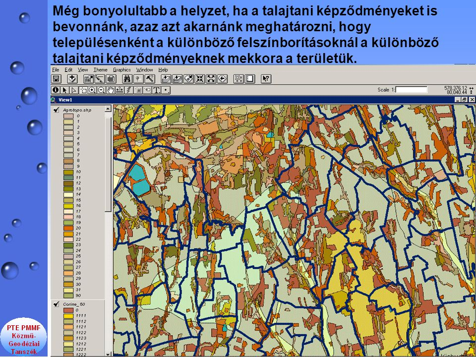 Még bonyolultabb a helyzet, ha a talajtani képződményeket is bevonnánk, azaz azt akarnánk meghatározni, hogy településenként a különböző felszínborításoknál a különböző talajtani képződményeknek mekkora a területük.