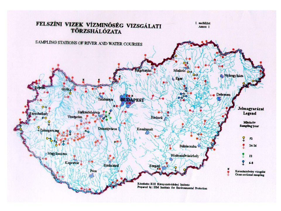 A MAGYAR VÍZMINŐSÍTÉSI RENDSZER Felszíni vízre (folyókra, tavakra, tározókra) 250 mintavételi hely volt, ma 150 Komponensek koncentráció értékei szeri