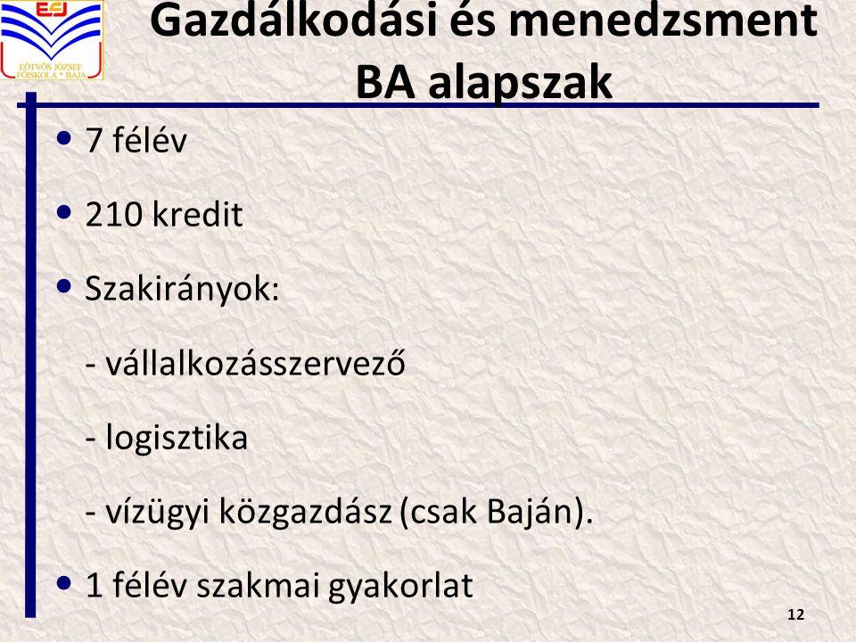Gazdálkodási és menedzsment BA alapszak 7 félév 210 kredit Szakirányok: - vállalkozásszervező - logisztika - vízügyi közgazdász (csak Baján).