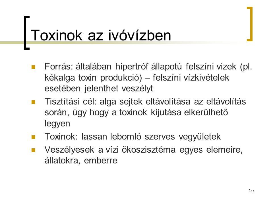 Toxinok az ivóvízben Forrás: általában hipertróf állapotú felszíni vizek (pl. kékalga toxin produkció) – felszíni vízkivételek esetében jelenthet vesz