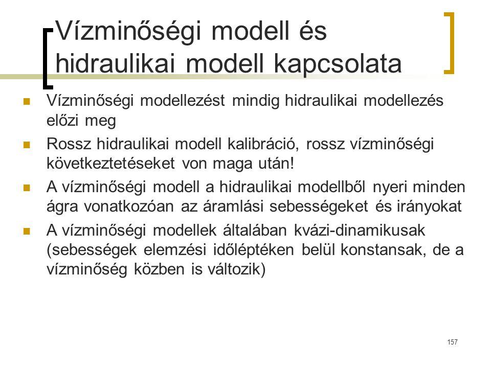 Vízminőségi modell és hidraulikai modell kapcsolata Vízminőségi modellezést mindig hidraulikai modellezés előzi meg Rossz hidraulikai modell kalibráci