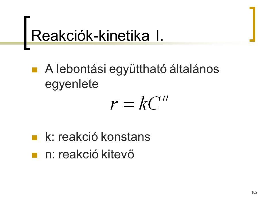 Reakciók-kinetika I. A lebontási együttható általános egyenlete k: reakció konstans n: reakció kitevő 162