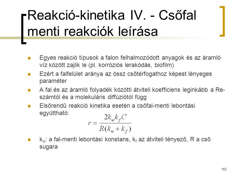 Reakció-kinetika IV. - Csőfal menti reakciók leírása Egyes reakció típusok a falon felhalmozódott anyagok és az áramló víz között zajlik le (pl. korró