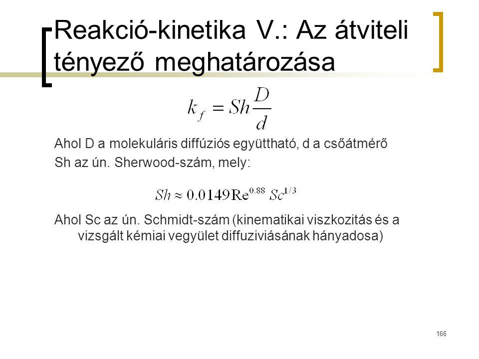 Reakció-kinetika V.: Az átviteli tényező meghatározása Ahol D a molekuláris diffúziós együttható, d a csőátmérő Sh az ún. Sherwood-szám, mely: Ahol Sc