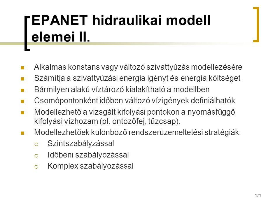 EPANET hidraulikai modell elemei II. Alkalmas konstans vagy változó szivattyúzás modellezésére Számítja a szivattyúzási energia igényt és energia költ