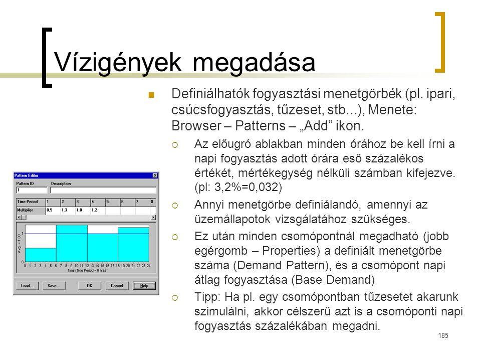 """Vízigények megadása Definiálhatók fogyasztási menetgörbék (pl. ipari, csúcsfogyasztás, tűzeset, stb...), Menete: Browser – Patterns – """"Add"""" ikon.  Az"""