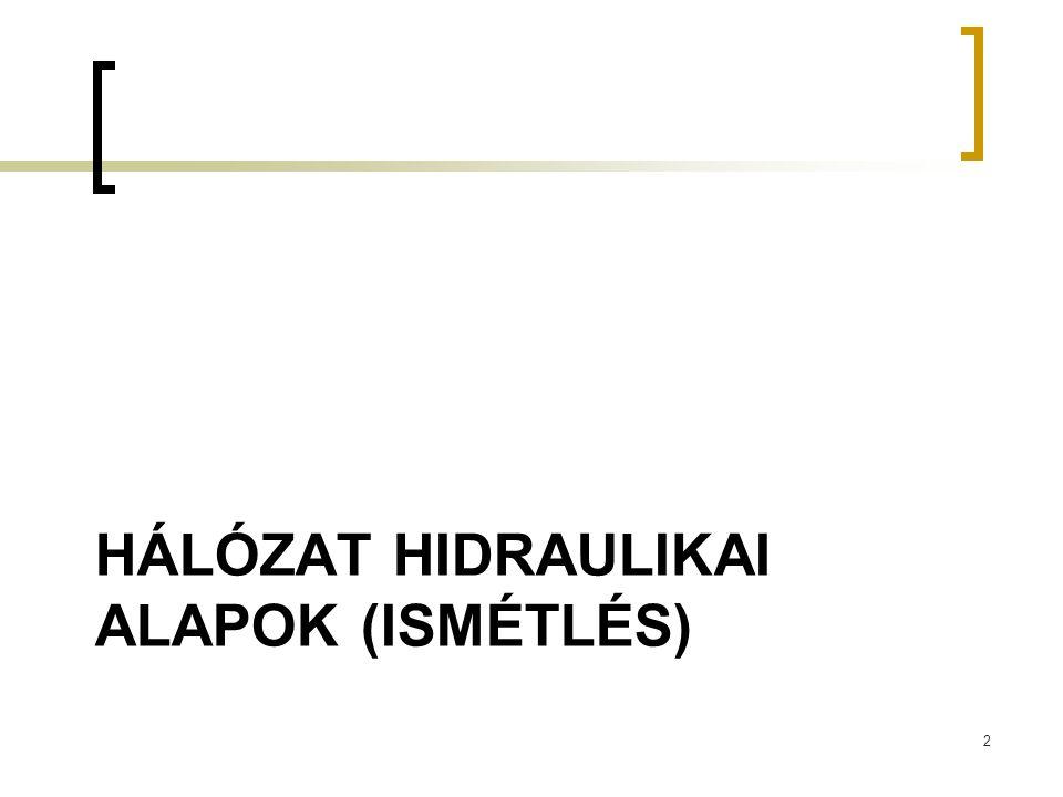 HÁLÓZAT HIDRAULIKAI ALAPOK (ISMÉTLÉS) 2