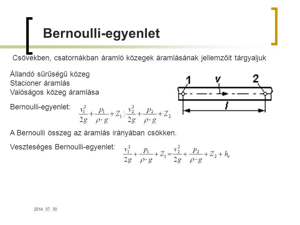 2014. 07. 30. Bernoulli-egyenlet Csövekben, csatornákban áramló közegek áramlásának jellemzőit tárgyaljuk Állandó sűrűségű közeg Stacioner áramlás Val