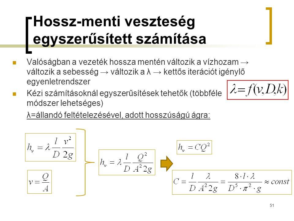 Hossz-menti veszteség egyszerűsített számítása Valóságban a vezeték hossza mentén változik a vízhozam → változik a sebesség → változik a λ → kettős it