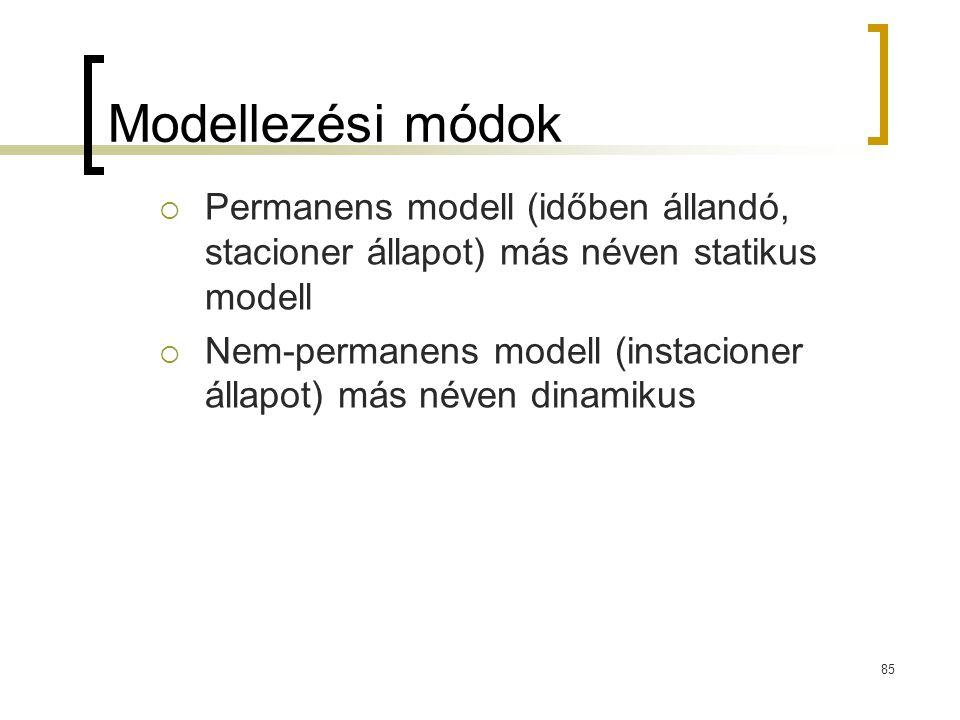Modellezési módok  Permanens modell (időben állandó, stacioner állapot) más néven statikus modell  Nem-permanens modell (instacioner állapot) más né