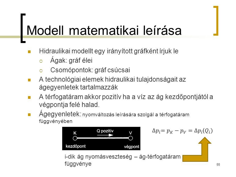 Modell matematikai leírása Hidraulikai modellt egy irányított gráfként írjuk le  Ágak: gráf élei  Csomópontok: gráf csúcsai A technológiai elemek hi