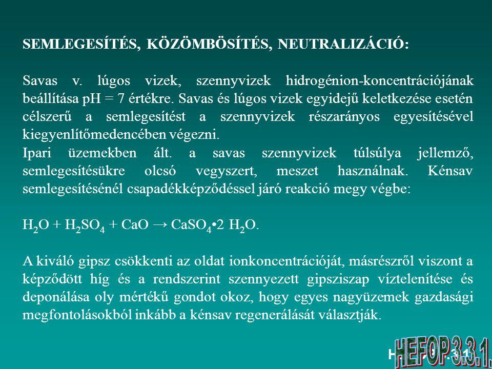 HEFOP 3.3.1. SEMLEGESÍTÉS, KÖZÖMBÖSÍTÉS, NEUTRALIZÁCIÓ: Savas v. lúgos vizek, szennyvizek hidrogénion-koncentrációjának beállítása pH = 7 értékre. Sav