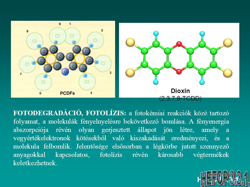 HEFOP 3.3.1. FOTODEGRADÁCIÓ, FOTOLÍZIS: a fotokémiai reakciók közé tartozó folyamat, a molekulák fényelnyelésre bekövetkező bomlása. A fényenergia abs