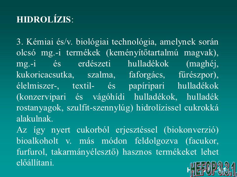 HEFOP 3.3.1. HIDROLÍZIS: 3. Kémiai és/v. biológiai technológia, amelynek során olcsó mg.-i termékek (keményítőtartalmú magvak), mg.-i és erdészeti hul