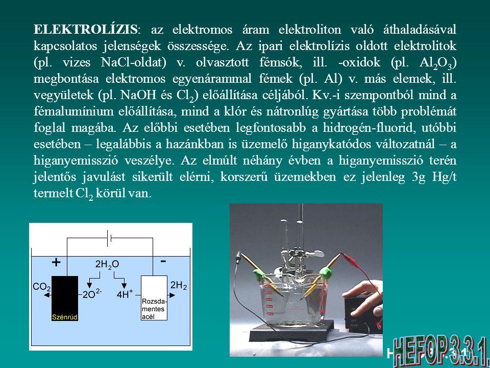 HEFOP 3.3.1. ELEKTROLÍZIS: az elektromos áram elektroliton való áthaladásával kapcsolatos jelenségek összessége. Az ipari elektrolízis oldott elektrol