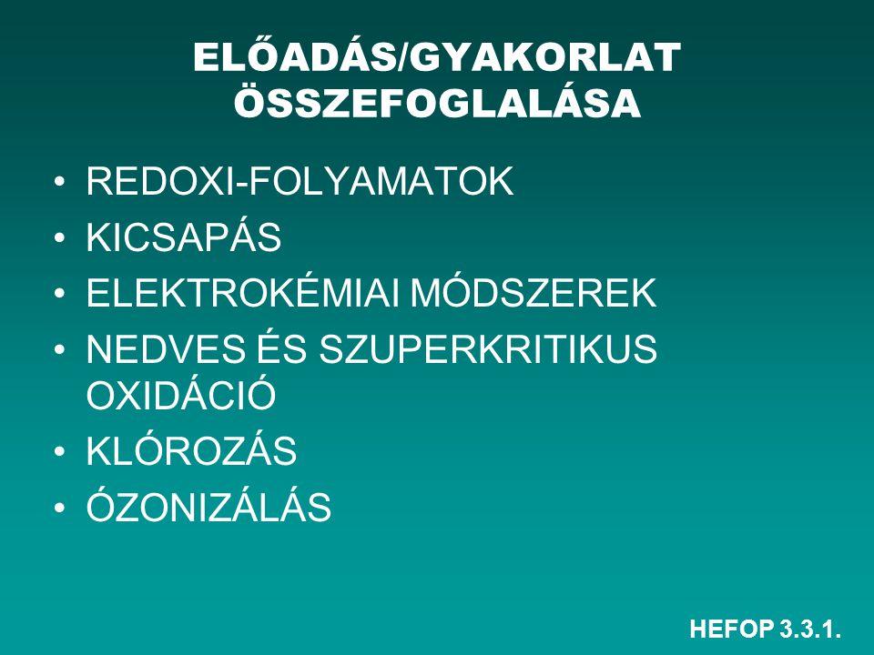 HEFOP 3.3.1. ELŐADÁS/GYAKORLAT ÖSSZEFOGLALÁSA REDOXI-FOLYAMATOK KICSAPÁS ELEKTROKÉMIAI MÓDSZEREK NEDVES ÉS SZUPERKRITIKUS OXIDÁCIÓ KLÓROZÁS ÓZONIZÁLÁS