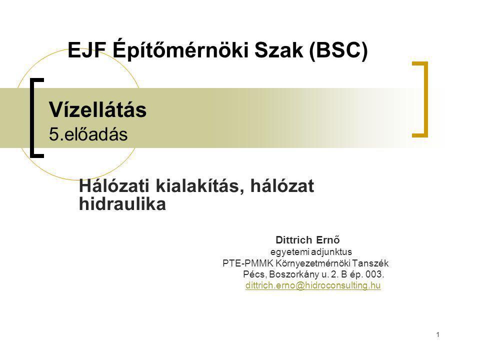 1 Vízellátás 5.előadás Hálózati kialakítás, hálózat hidraulika Dittrich Ernő egyetemi adjunktus PTE-PMMK Környezetmérnöki Tanszék Pécs, Boszorkány u.