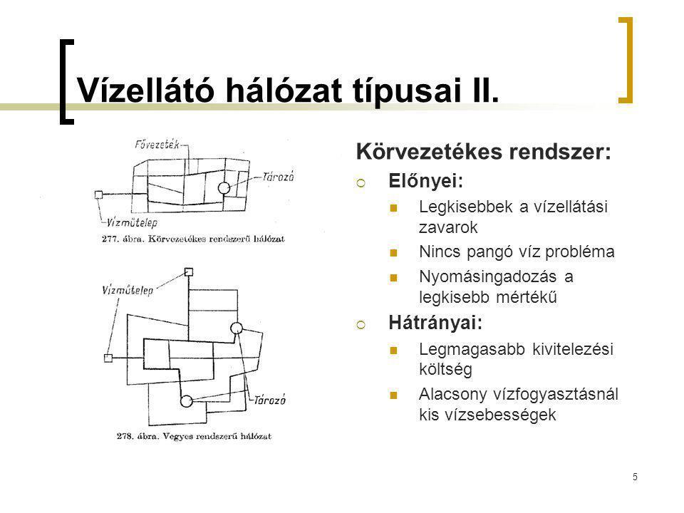 Vízellátó hálózat típusai II. Körvezetékes rendszer:  Előnyei: Legkisebbek a vízellátási zavarok Nincs pangó víz probléma Nyomásingadozás a legkisebb