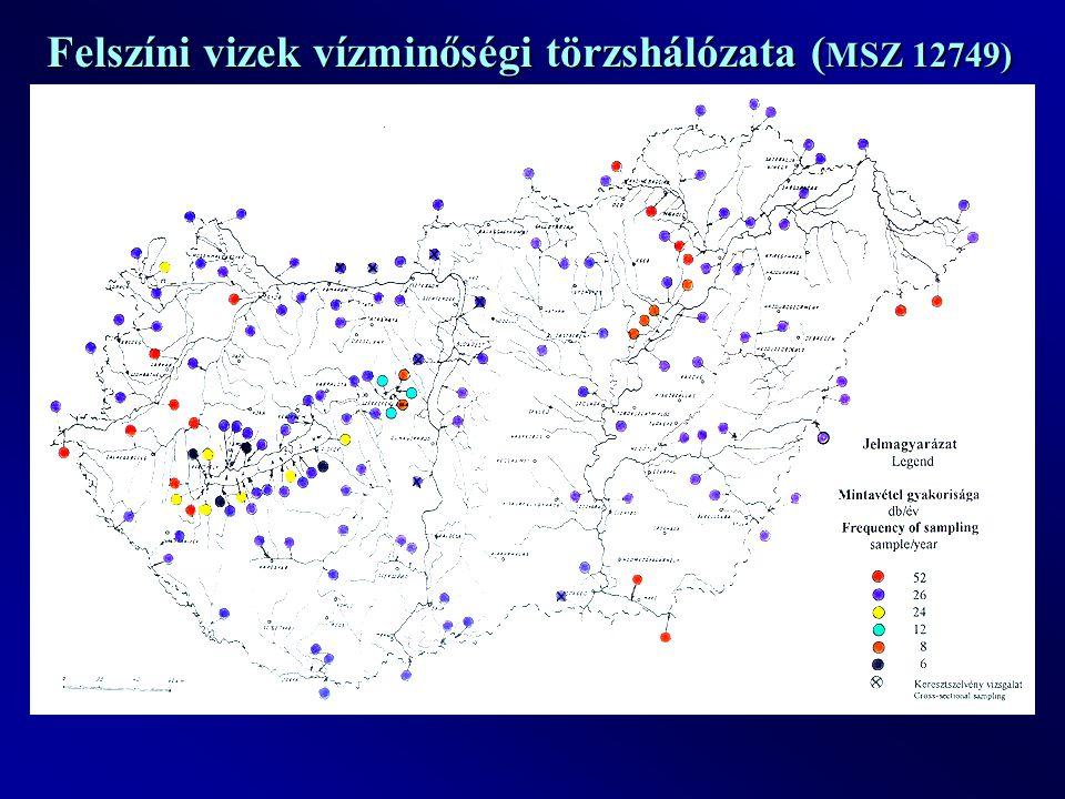 Felszíni vizek vízminőségi törzshálózata ( MSZ 12749)