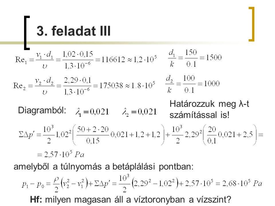 Diagramból: amelyből a túlnyomás a betáplálási pontban: 3. feladat III Határozzuk meg λ-t számítással is! Hf: milyen magasan áll a víztoronyban a vízs