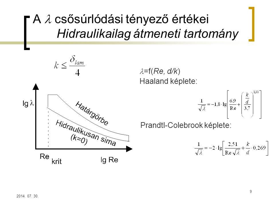 2014. 07. 30. A csősúrlódási tényező értékei Hidraulikailag átmeneti tartomány =f(Re, d/k) Haaland képlete: Prandtl-Colebrook képlete: 9