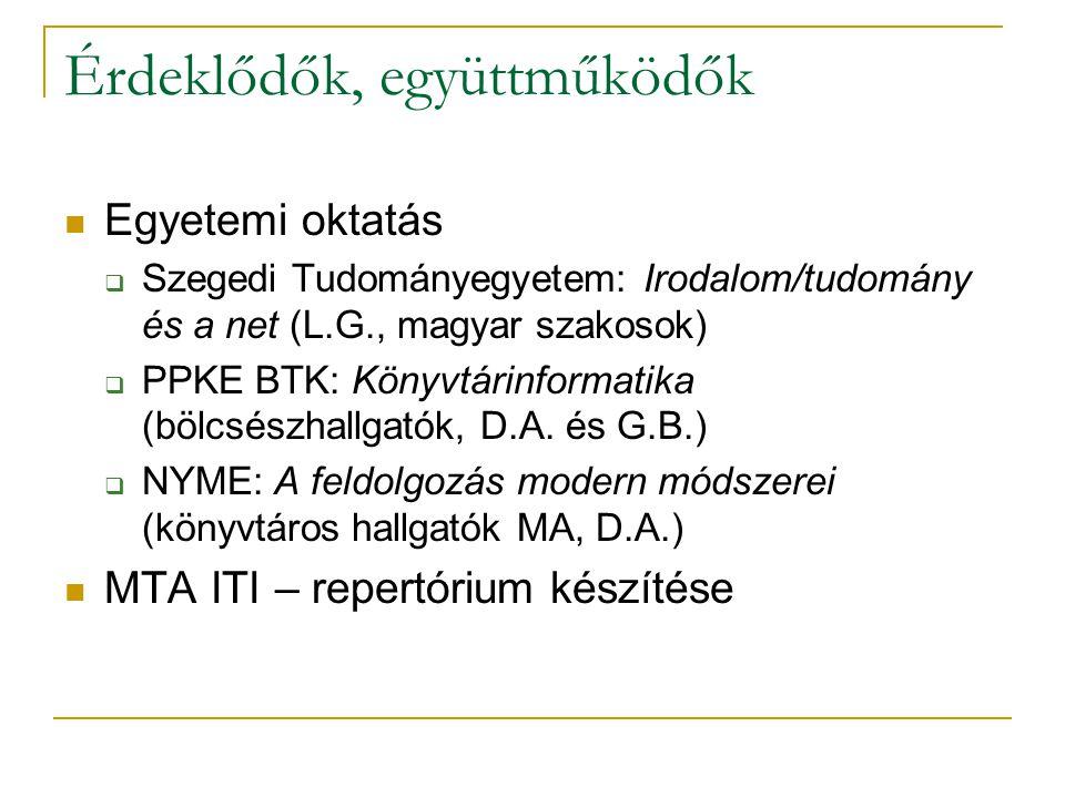Érdeklődők, együttműködők Egyetemi oktatás  Szegedi Tudományegyetem: Irodalom/tudomány és a net (L.G., magyar szakosok)  PPKE BTK: Könyvtárinformati