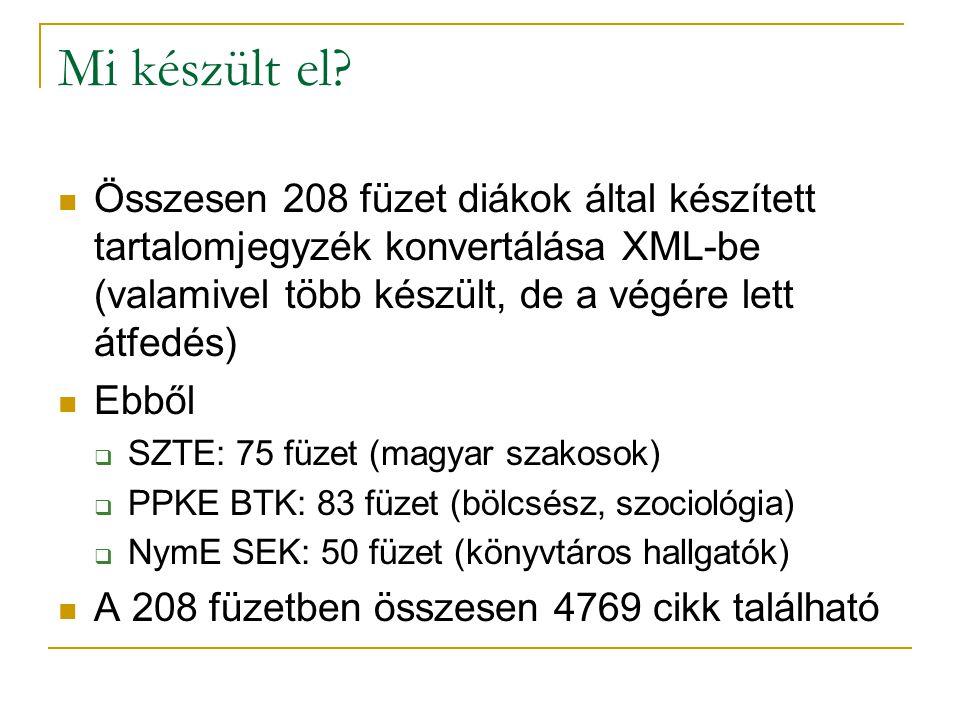 Mi készült el? Összesen 208 füzet diákok által készített tartalomjegyzék konvertálása XML-be (valamivel több készült, de a végére lett átfedés) Ebből