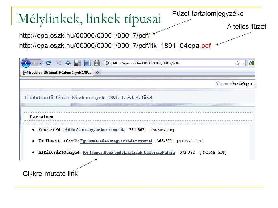 Mélylinkek, linkek típusai http://epa.oszk.hu/00000/00001/00017/pdf// http://epa.oszk.hu/00000/00001/00017/pdf/itk_1891_04epa.pdf Cikkre mutató link F