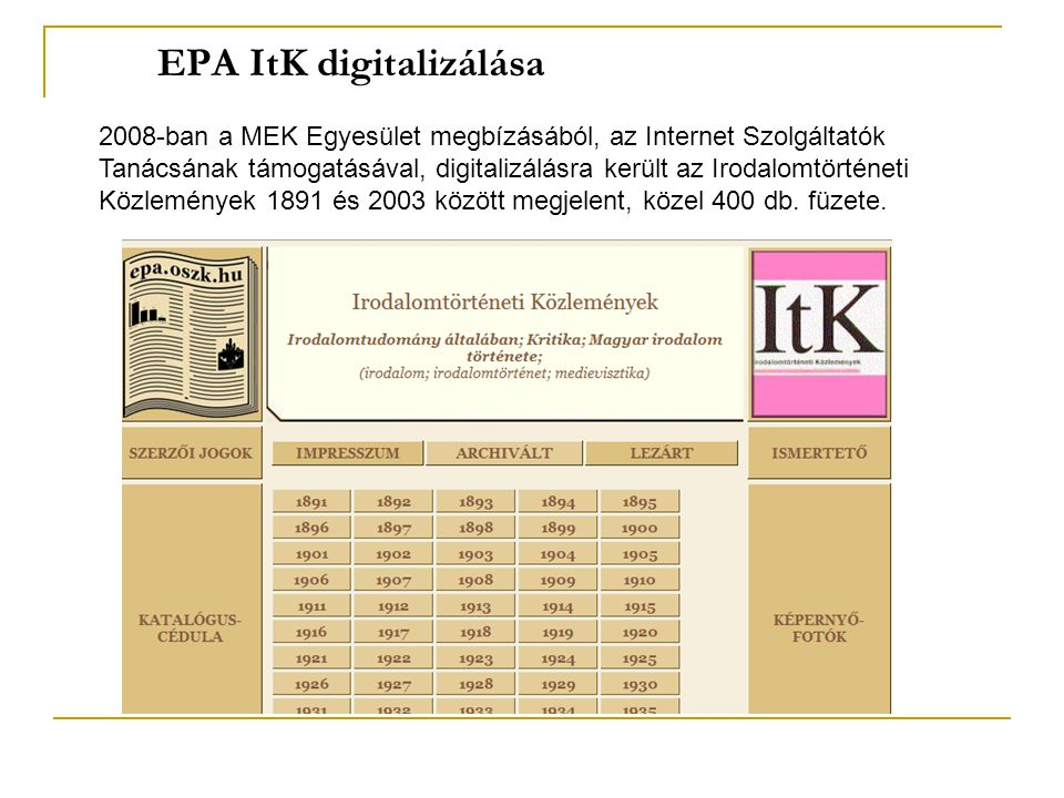 EPA ItK digitalizálása 2008-ban a MEK Egyesület megbízásából, az Internet Szolgáltatók Tanácsának támogatásával, digitalizálásra került az Irodalomtörténeti Közlemények 1891 és 2003 között megjelent, közel 400 db.