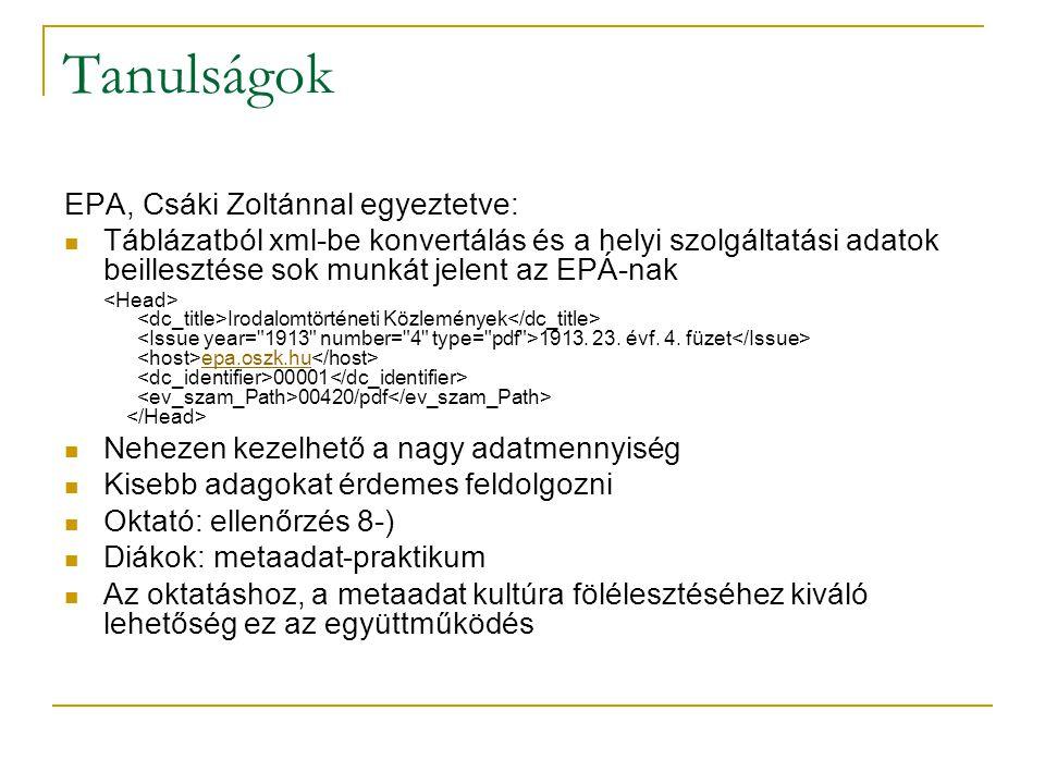 Tanulságok EPA, Csáki Zoltánnal egyeztetve: Táblázatból xml-be konvertálás és a helyi szolgáltatási adatok beillesztése sok munkát jelent az EPÁ-nak Irodalomtörténeti Közlemények 1913.