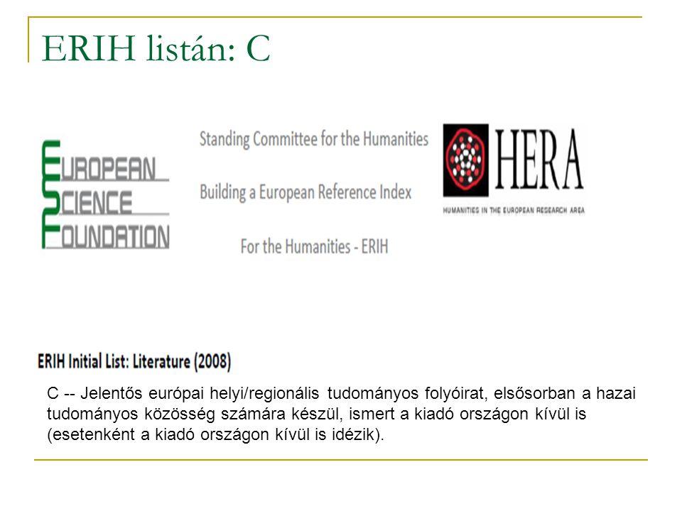 ERIH listán: C C -- Jelentős európai helyi/regionális tudományos folyóirat, elsősorban a hazai tudományos közösség számára készül, ismert a kiadó orsz