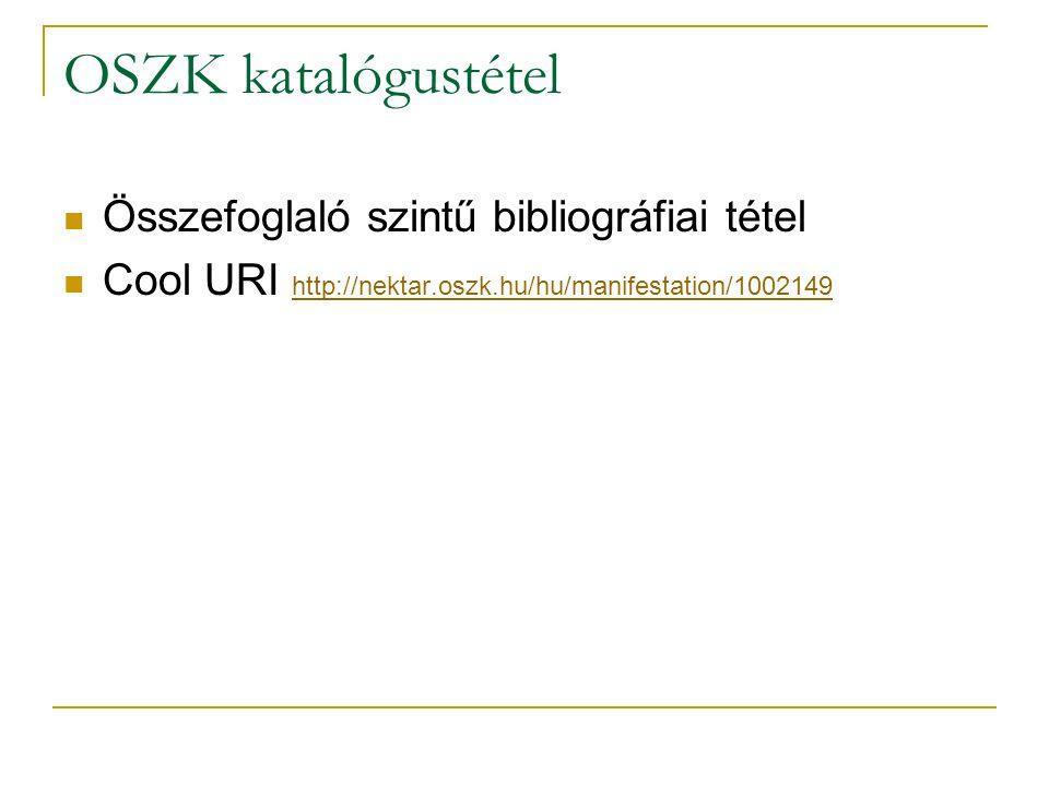 OSZK katalógustétel Összefoglaló szintű bibliográfiai tétel Cool URI http://nektar.oszk.hu/hu/manifestation/1002149 http://nektar.oszk.hu/hu/manifesta