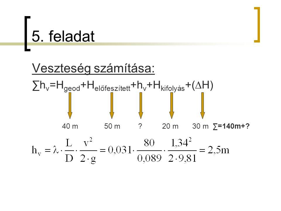 5. feladat Veszteség számítása: ∑h v =H geod +H előfeszített +h v +H kifolyás +(∆H) 40 m 50 m ? 20 m 30 m ∑=140m+?