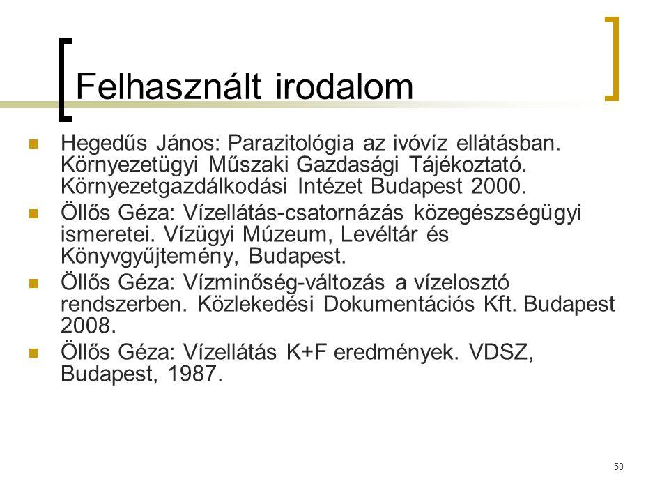 50 Felhasznált irodalom Hegedűs János: Parazitológia az ivóvíz ellátásban. Környezetügyi Műszaki Gazdasági Tájékoztató. Környezetgazdálkodási Intézet