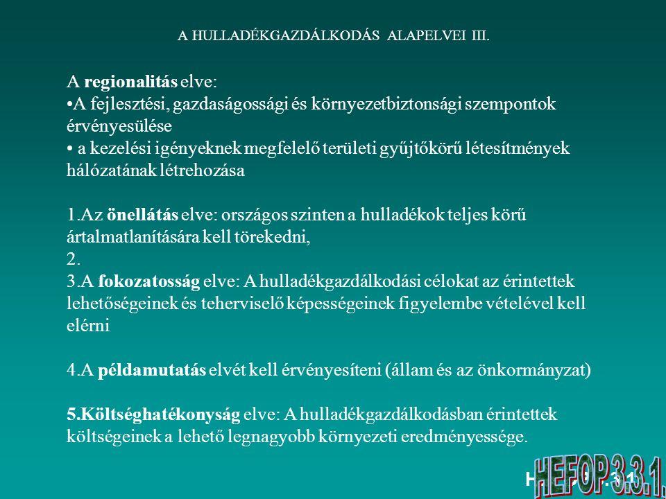 HEFOP 3.3.1. A HULLADÉKGAZDÁLKODÁS ALAPELVEI III. A regionalitás elve: A fejlesztési, gazdaságossági és környezetbiztonsági szempontok érvényesülése a