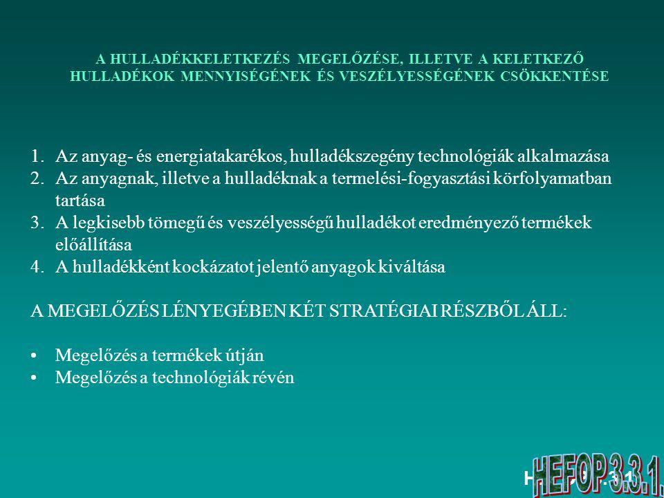 HEFOP 3.3.1. A HULLADÉKKELETKEZÉS MEGELŐZÉSE, ILLETVE A KELETKEZŐ HULLADÉKOK MENNYISÉGÉNEK ÉS VESZÉLYESSÉGÉNEK CSÖKKENTÉSE 1.Az anyag- és energiatakar