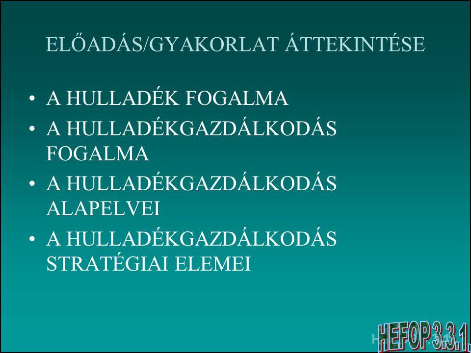 HEFOP 3.3.1. ELŐADÁS/GYAKORLAT ÁTTEKINTÉSE A HULLADÉK FOGALMA A HULLADÉKGAZDÁLKODÁS FOGALMA A HULLADÉKGAZDÁLKODÁS ALAPELVEI A HULLADÉKGAZDÁLKODÁS STRA