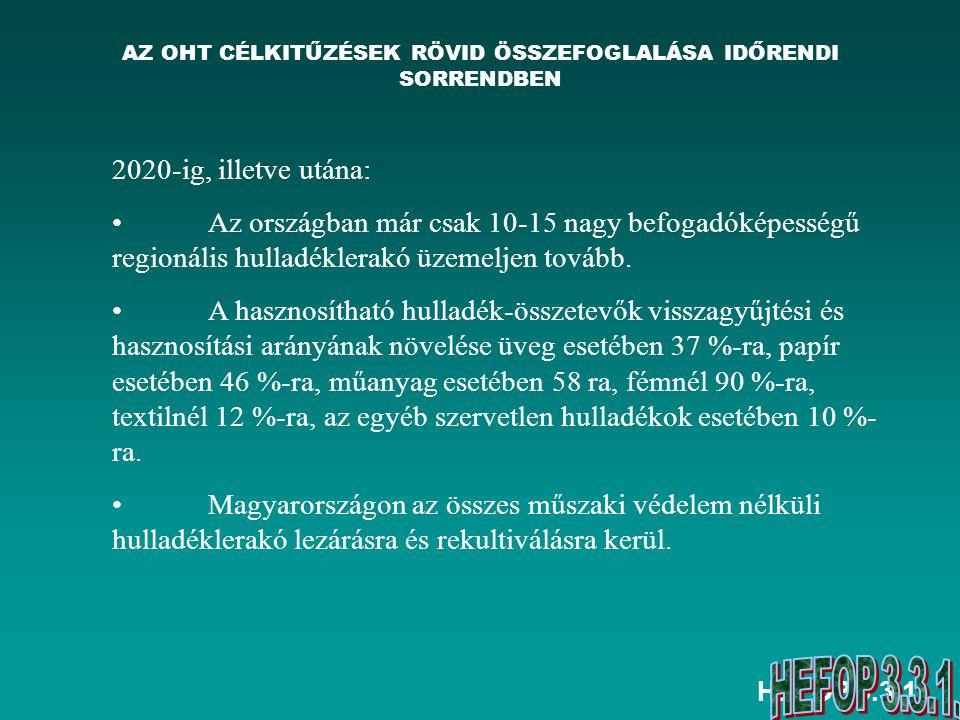 HEFOP 3.3.1. AZ OHT CÉLKITŰZÉSEK RÖVID ÖSSZEFOGLALÁSA IDŐRENDI SORRENDBEN 2020-ig, illetve utána: Az országban már csak 10-15 nagy befogadóképességű r