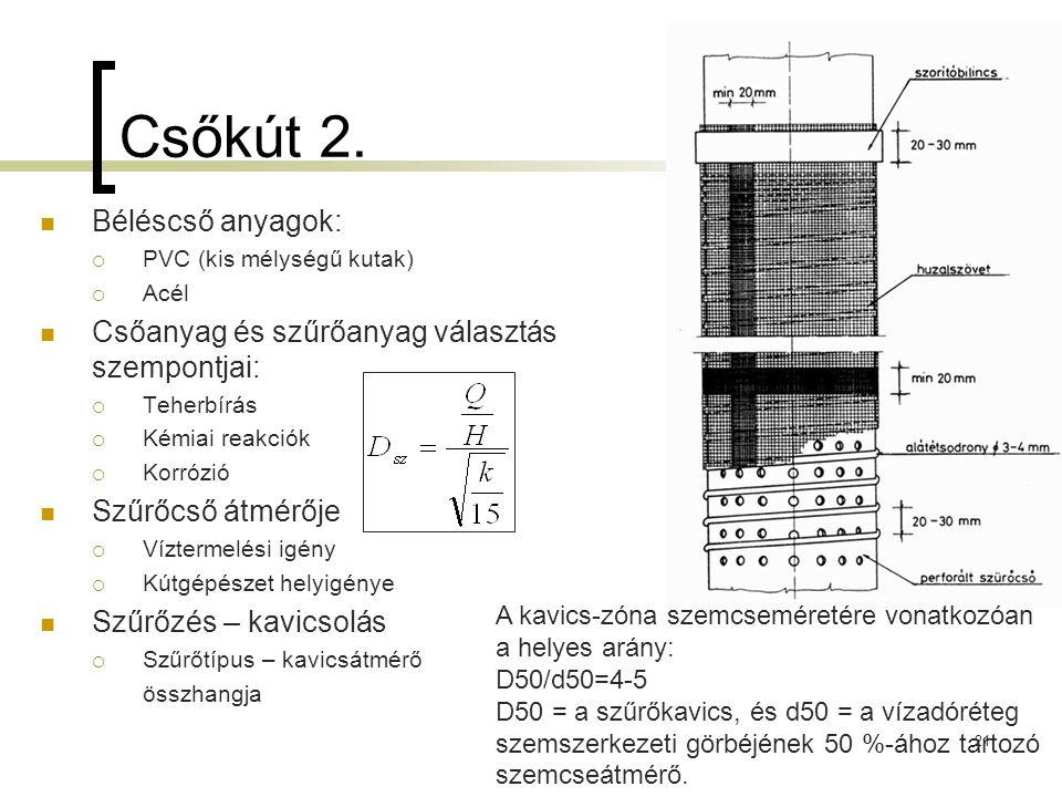 Csőkút 2. Béléscső anyagok:  PVC (kis mélységű kutak)  Acél Csőanyag és szűrőanyag választás szempontjai:  Teherbírás  Kémiai reakciók  Korrózió