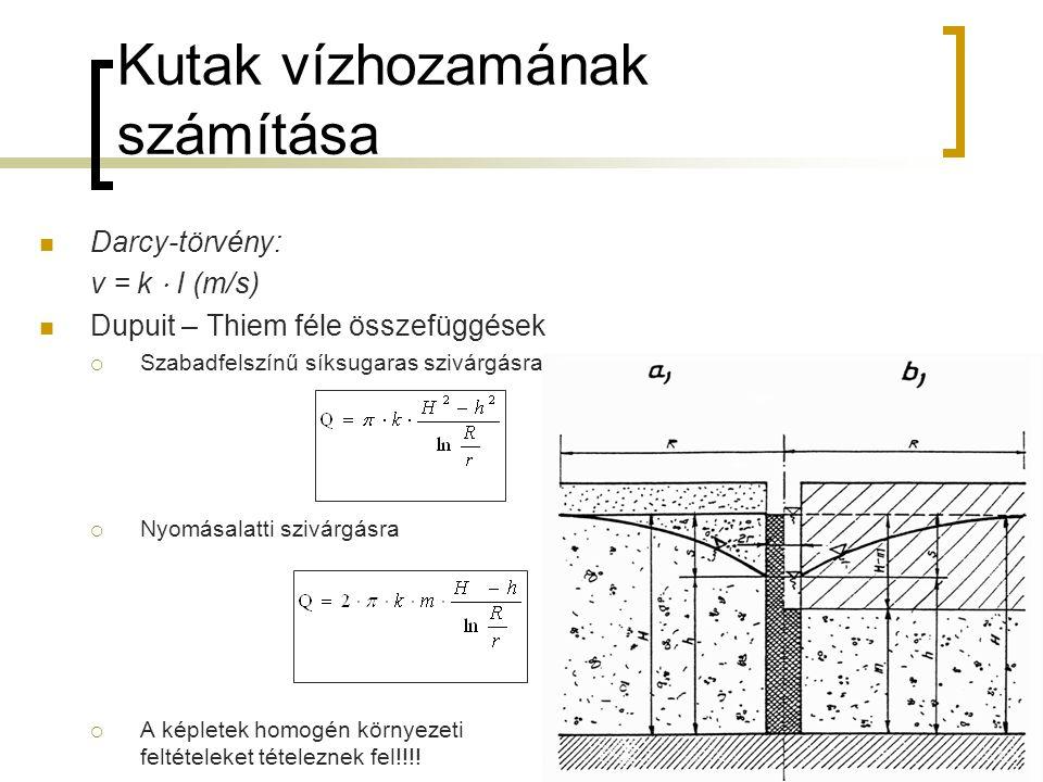 Kutak vízhozamának számítása Darcy-törvény: v = k ⋅ I (m/s) Dupuit – Thiem féle összefüggések  Szabadfelszínű síksugaras szivárgásra  Nyomásalatti s