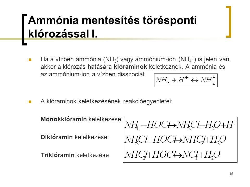 16 Ammónia mentesítés törésponti klórozással I. Ha a vízben ammónia (NH 3 ) vagy ammónium-ion (NH 4 + ) is jelen van, akkor a klórozás hatására klóram