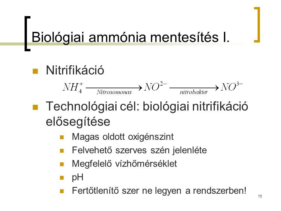 Biológiai ammónia mentesítés I. Nitrifikáció Technológiai cél: biológiai nitrifikáció elősegítése Magas oldott oxigénszint Felvehető szerves szén jele