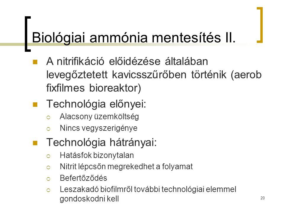 Biológiai ammónia mentesítés II. A nitrifikáció előidézése általában levegőztetett kavicsszűrőben történik (aerob fixfilmes bioreaktor) Technológia el