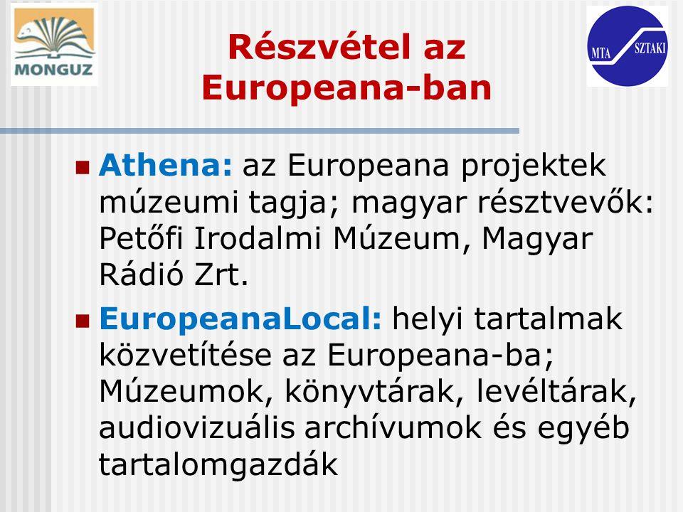 Részvétel az Europeana-ban Athena: az Europeana projektek múzeumi tagja; magyar résztvevők: Petőfi Irodalmi Múzeum, Magyar Rádió Zrt. EuropeanaLocal: