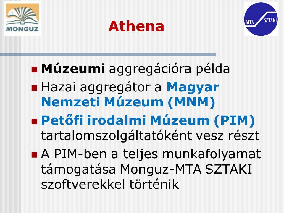 Athena Múzeumi aggregációra példa Hazai aggregátor a Magyar Nemzeti Múzeum (MNM) Petőfi irodalmi Múzeum (PIM) tartalomszolgáltatóként vesz részt A PIM