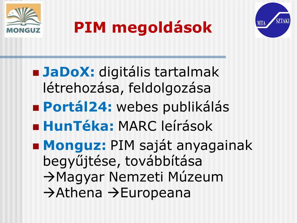 PIM megoldások JaDoX: digitális tartalmak létrehozása, feldolgozása Portál24: webes publikálás HunTéka: MARC leírások Monguz: PIM saját anyagainak beg